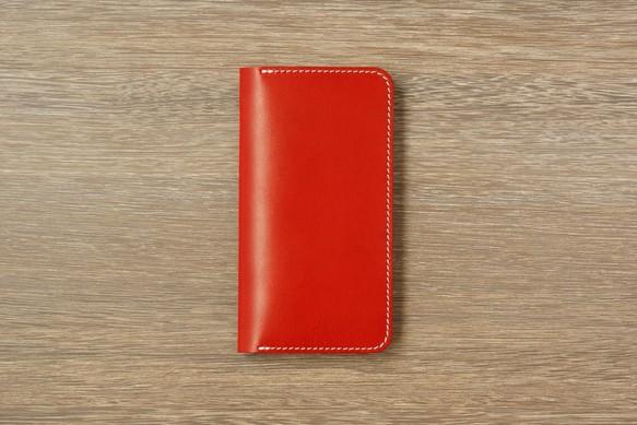 cb62502ed1 牛革 iPhoneXS MAXカバー ヌメ革 レザーケース 手帳型 レッドカラー ...