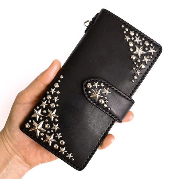79e304fbae 星のiPhoneケース / アイフォン / スマホケース(各サイズ対応・スタッズ) レザー / 革 ▷名入れ可