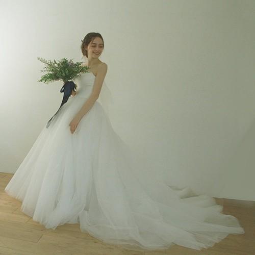 83de252be13e4 Antoine新作☆トレーン付チュールウェディングドレス bigdayドレス ...