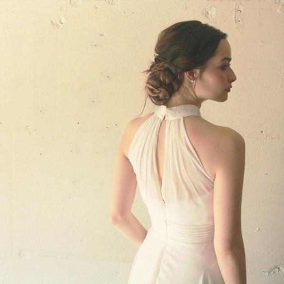 d3c124617c525 ウエディングドレス スレンダー ホルターネックエンパイアドレス ジゼルアメリカンスリーブドレス