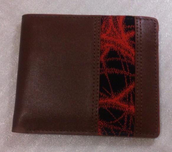 dac126a8537d アンティーク帯と牛革の札入れ 赤黒ストライプ 財布・二つ折り財布 AJMANA