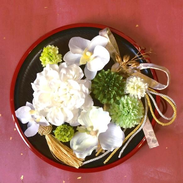 b4644d43f531d 白無垢 にも ホワイト   グリーン 贅沢 髪飾り 選べる タッセル とオマケのリボン 結婚式 成人式 和 着物