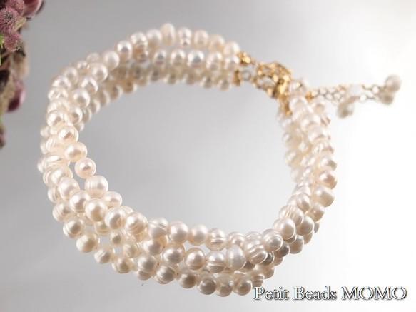 bced22732da2b4 ちょっと大きめ淡水真珠の2連ブレスレット~アンクレットにも~1点物 ...