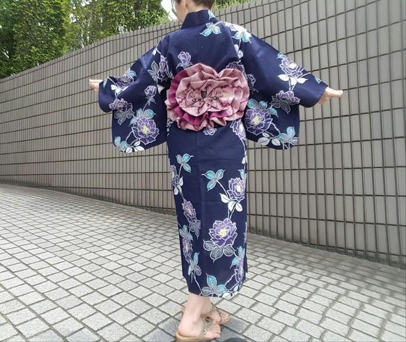 2dab59b6045b75 (小さいサイズ) ワンタッチ浴衣 ワンピース浴衣 リメイク 濃紺紫バラ 和装・和小物 KURAWAN-BAG