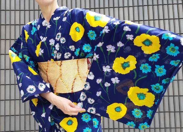 2be7f9ec3986a0 ワンタッチ浴衣 くらわん浴衣 KENZO浴衣紺黄水色花 和装・和小物 KURAWAN-BAG