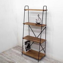 アイアン斜め棚(棚板4段、茶色)w60cm、h130cm