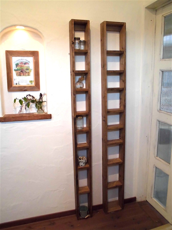 パイン材の柱棚(サイズ指定の隙間棚)受注生産品