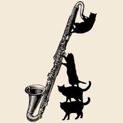 バスクラリネット黒猫のトートバッグ楽器ねこシリーズ トートバッグ