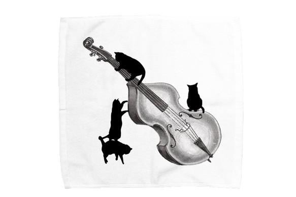 コントラバスと黒猫のミニタオル ファッション雑貨小物 でぶねこ 通販