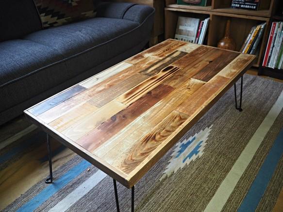 折りたたみ 古材 テーブル ローテーブル リビングテーブル センター