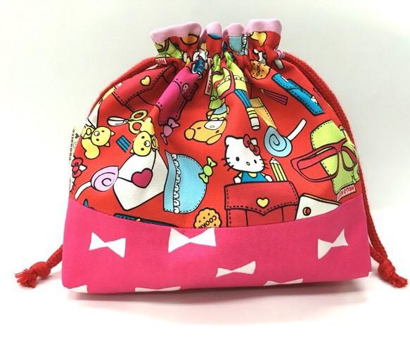送料無料入園入学 キティーちゃんの巾着 お弁当袋にも レッスン