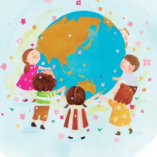 小笠原まきのイラスト画 地球と子ども 絵画 Toyhof 通販 Creema クリーマ ハンドメイド 手作り クラフト作品の販売サイト