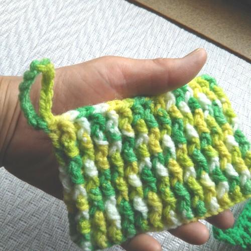 たわし 手編み アクリル 編まないアクリルたわし。気軽につくってどんどん使おう!