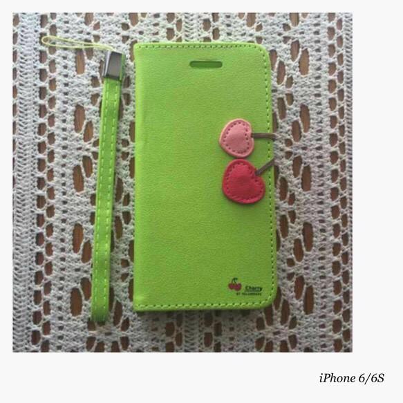 7c46e957bc iPhone 6 6S サクランボ 手帳 ケース 黄緑 グリーン ストラップ付 iPhone ...