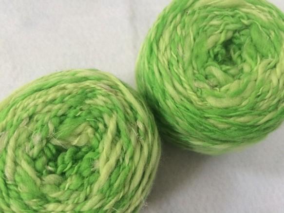 麻の繊維入り手紡ぎ糸(薄萌葱色) 毛糸 atelier-nao