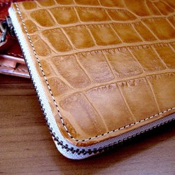 55ccb9dde14f 本革長財布 ラウンドファスナー ナイルクロコ柄のキャメル 長財布 sansho-leather 通販|Creema(クリーマ)  ハンドメイド・手作り・クラフト作品の販売サイト