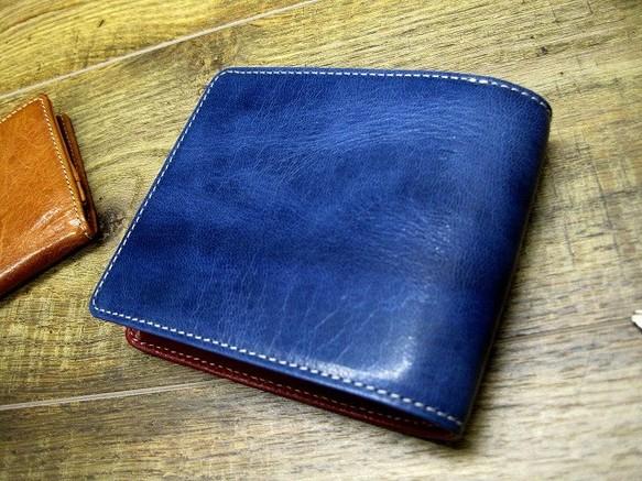 062ca939b789 本革二つ折財布 ポケットたくさん多機能! ワックスゴート(山羊革) ブルー×レッド 財布・二つ折り財布 sansho-leather