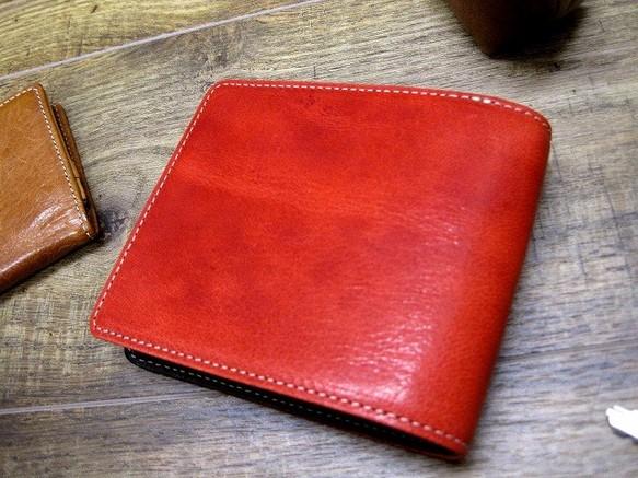 de1095dc91d8 本革二つ折財布 ポケットたくさん多機能! ワックスゴート(山羊革) レッド×ブラック 財布・二つ折り財布 sansho-leather