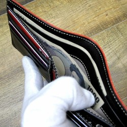 2de7bdbba6ba 本革二つ折財布 ポケットたくさん多機能! ワックスゴート(山羊革) レッド×ブラック 財布・二つ折り財布 sansho-leather  通販|Creema(クリーマ) ハンドメイド・ ...