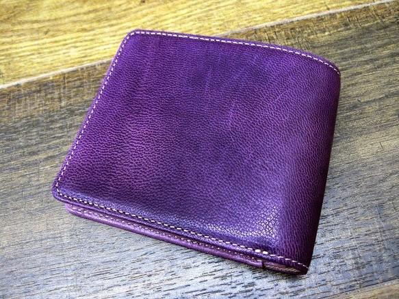 d8eb370de8d8 本革二つ折財布 ポケットたくさん多機能! ワックスゴート(山羊革) パープル×ライラック パープルコンビ
