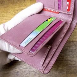 e73b7bc5f0ef 本革二つ折財布 ポケットたくさん多機能! ワックスゴート(山羊革) パープル×ライラック パープルコンビ