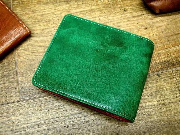 1f022c2b89da 本革二つ折財布 ポケットたくさん多機能! ワックスゴート(山羊革) グリーン×オレンジ