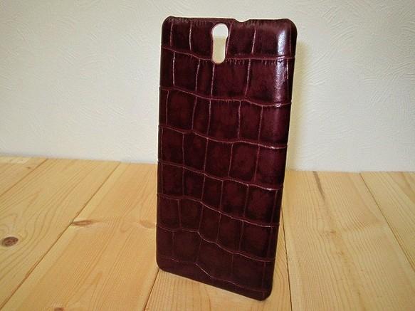 f0c1544f5bd8 【受注生産】本革スマホカバー アンチックボルドーのクロコ柄 Xperia C5 Ultra用 | sansho-leatherのスマホケース・カバー