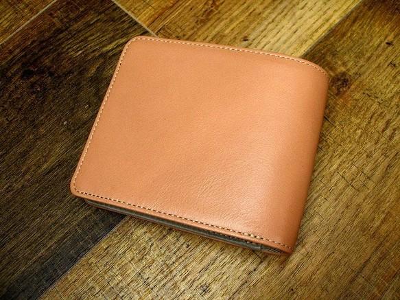 98b198f4128f 本革二つ折財布 ポケットたくさん多機能! パウダーピンク×グレー コンビ 財布・二つ折り財布 sansho-leather