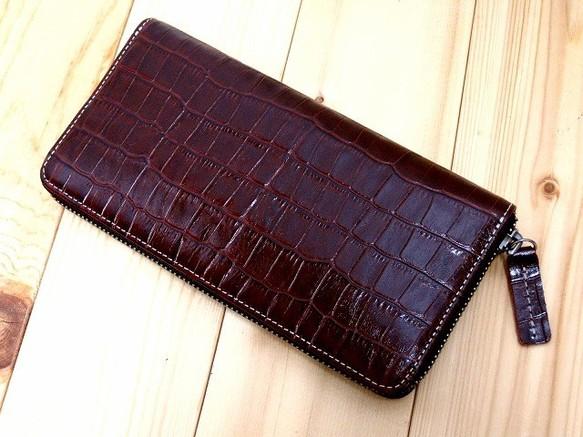 8f340352a5c2 本革長財布 ラウンドファスナー クロコ柄型押しのステア(牛革) ディープルージュ 長財布 sansho-leather