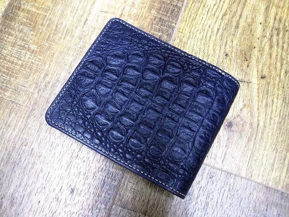 733f6b92081c 本革二つ折財布 ポケットたくさん多機能! 小背ワニ柄型押革 ディープネイビー 財布・二つ折り財布 sansho-leather