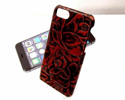 4d59480bd2 本革スマホカバー 薔薇柄型押 オレンジ×ブラック ツートーンカラー iPhone7,8用