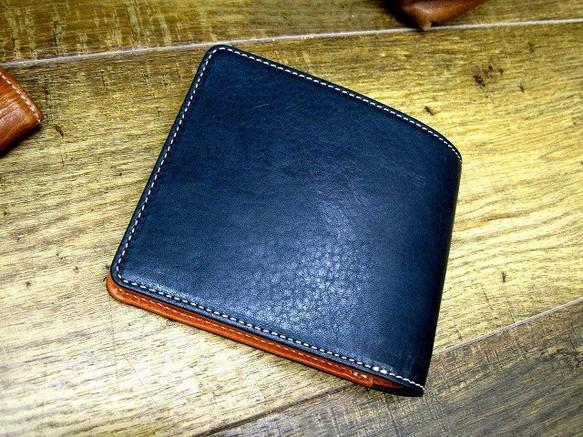 3f8360d0906d 本革二つ折財布 ポケットたくさん多機能! ワックスステア(牛革) ネイビー×オレンジ
