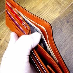 0151b9a24484 本革二つ折財布 ポケットたくさん多機能! ワックスステア(牛革) ネイビー×オレンジ 財布・二つ折り財布 sansho-leather  通販|Creema(クリーマ) ハンドメイド・ ...