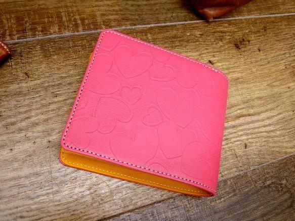 2df804de1084 本革二つ折財布 ポケットたくさん多機能! ハッピーハートのビタミンカラー ピンク