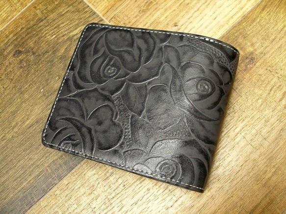 bfe9ea365d50 本革二つ折財布 ポケットたくさん多機能! 薔薇柄型押チャコールグレー 財布・二つ折り財布 sansho-leather