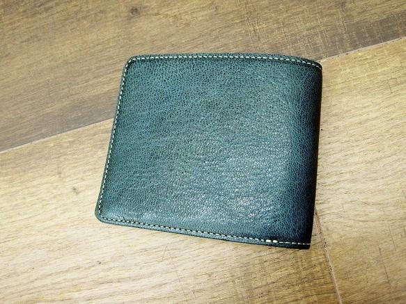 167c9703975f 本革二つ折財布 ポケットたくさん多機能! ワックスゴート(山羊革) エメラルド×ターコイズ