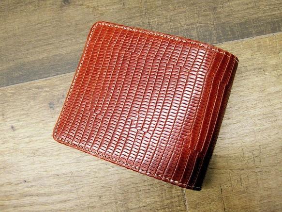07446480295f 本革二つ折財布 ポケットたくさん多機能! イグアナ柄 オレンジブラウングラデーション 財布・二つ折り財布 sansho-leather