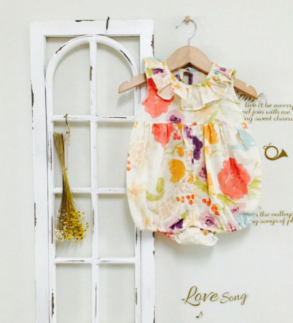 f5eea28b27094 鮮やかお花のフリル襟ロンパース ベビー服 こはるびより 通販|Creema ...