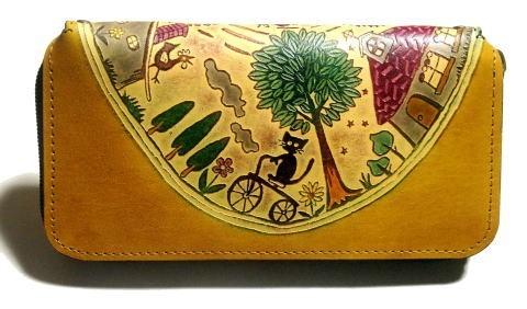 1f4277ca8696 猫のデザイン バッグ 財布等 レザークラフトnd ロング財布 自転者猫 catwalk oikawa