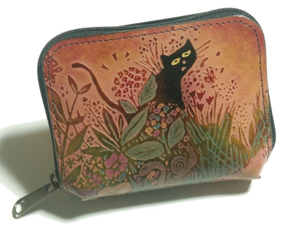 1e2348343f6b 猫のデザイン.手のひらサイズの財布 レザークラフト 森の仲間 catwalk oikawa 財布・二つ折り財布 catwalk oikawa