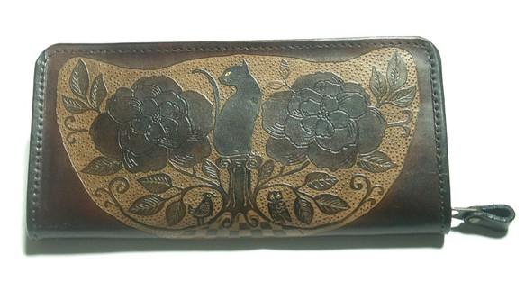 f7097ab4bb35 猫のデザイン バッグ 財布等 レザークラフト ロング財布 猫の顔 catwalk oikawa