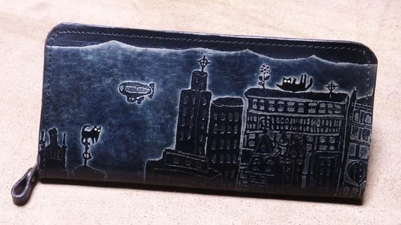 3cb98b876b6b 猫のデザイン バッグ 財布等 レザークラフト ロング財布 ビル猫 catwalk oikawa