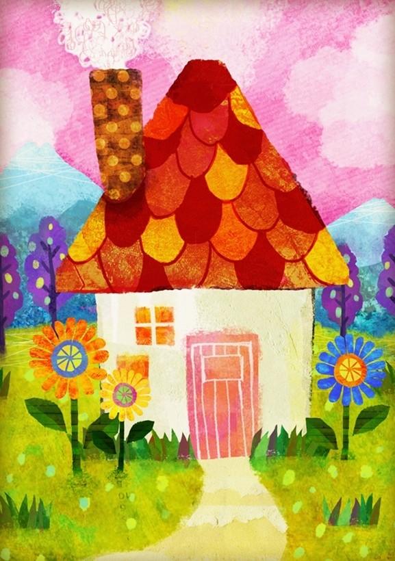 A4赤い屋根の家 イラスト 家 絵 デジタル画 フォトショップ Photoshop