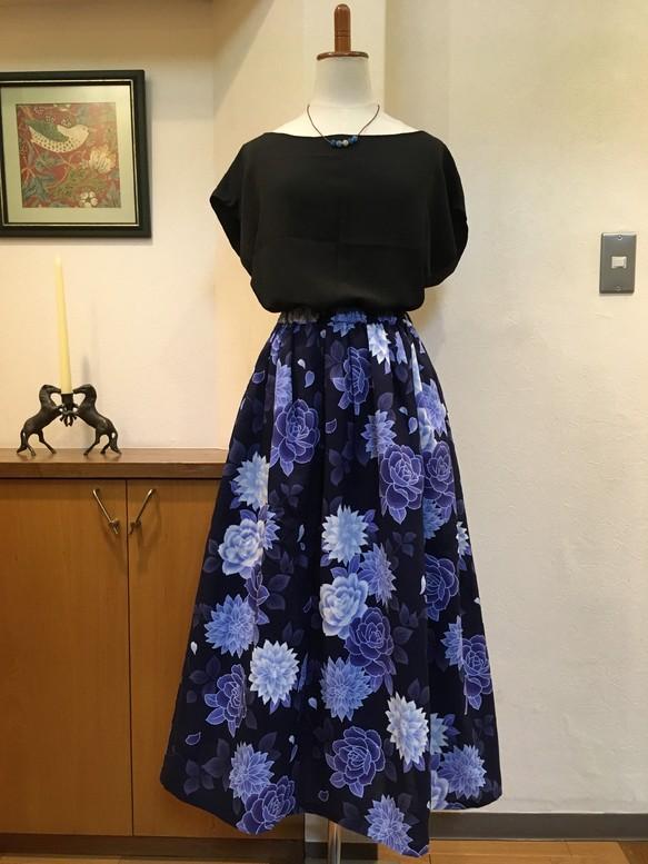 c147b2067f61e 青いバラとダリヤ*浴衣のスカート*着物リメイク*ハンドメイド* スカート 花かんむり
