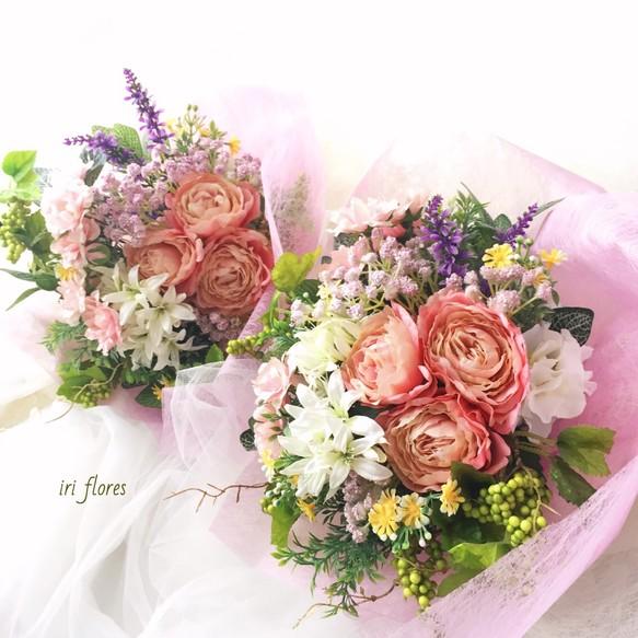 お好きなお色で♪結婚式の贈呈花 花束 両親プレゼント アーティフィシャルフラワー 造花 贈呈品 舞台 ギフト 記念品 ブーケ iri flores