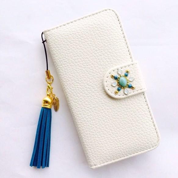 3d83f8db83 iPhone5/5s iPhone SE アイフォン 携帯 ケース カバー 白 かわいい きれい レザー 手帳 タッセル
