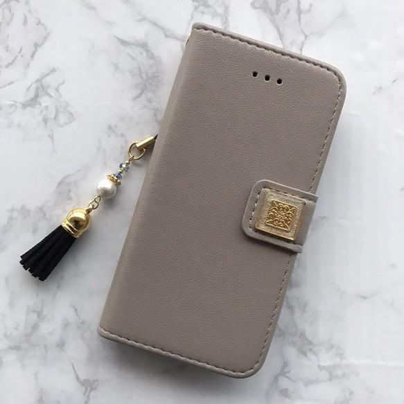 d963ef0565 【iPhone8・7・6/6s・5/5s・SE】手帳型 ケース カバー グレー おしゃれ 可愛い アイフォン 人気