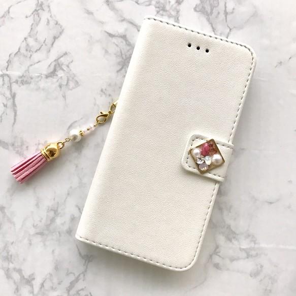 6550de0adb iPhone8/7/6/6s/5/5s/SE 手帳型 ケース カバー 白 キラキラ ピンク きれい かわいい スタンド