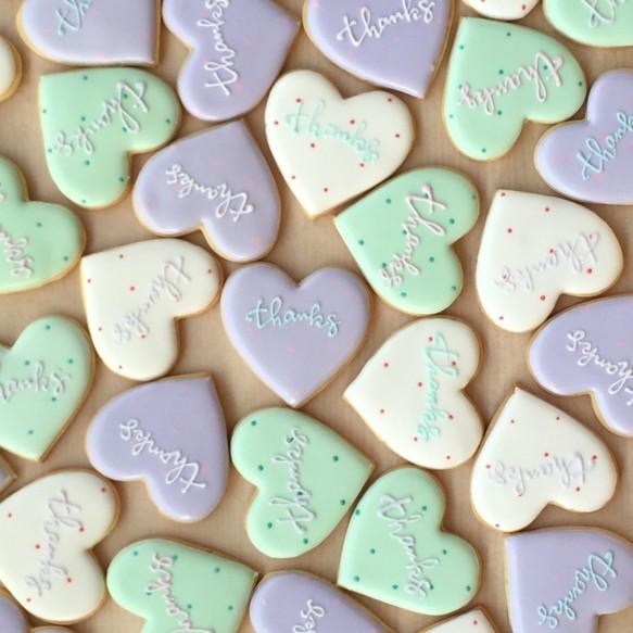 サンキューギフトに♡パステルドットのハートアイシングクッキー(10枚セット)