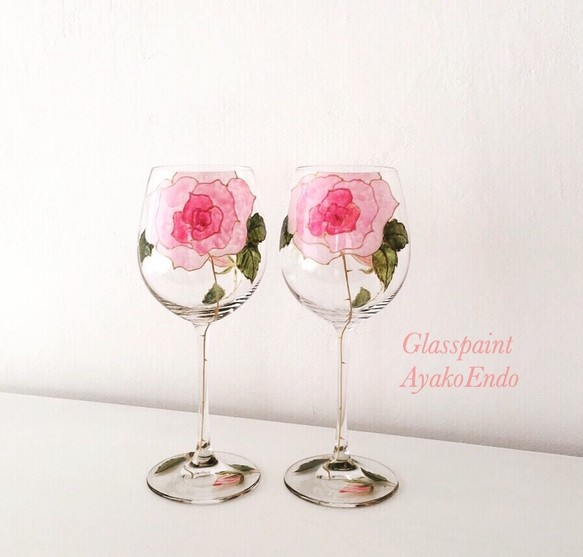 【母の日ギフト】フリーハンドで描くピンクローズワイングラス1客|母の日ギフト・結婚祝い・両親贈呈品・還暦祝い・退職祝い